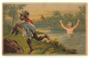Black Boy Steals Clothes Trade Card