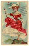 Polka Dotted Lady Postcard
