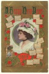 Lady in Ruffled Hat New Year Postcard