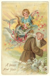1907 Tuck New Year Postcard of Father Time,  Series 113