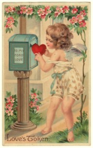 1909 Antique Postcard of Cupid Mailing a Heart