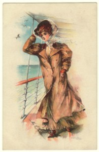 1909 May Farini Postcard - Lady in Duster Coat