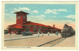 1930 New Union Pacific Station Postcard, Salina, KS