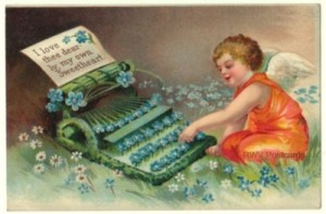 Clapsaddle Valentine Postcard of Cupid Typing