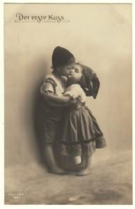 RP Postcard Dutch Children Kiss