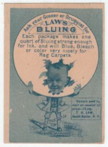 Laws Bluing Victorian Trade Card