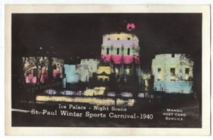 1940 Ice Palace Real Photo Postcard - Illuminated