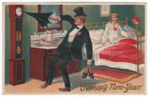 Antique New Year postcard of drunken man.