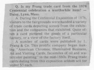 Newspaper Clip Answering Prang Trade Card Question