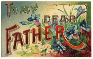 Large Letter Father Postcard