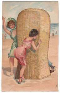 Postcard, Bathing Beauty Peaks Around Beach Chair
