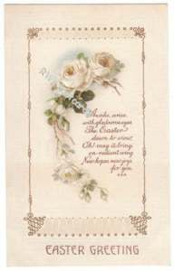 Art Deco Easter Postcard, White Roses