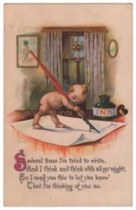 Vintage Kewpie Postcard, Quill