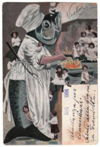Fish Chef Fries Children Antique Postcard