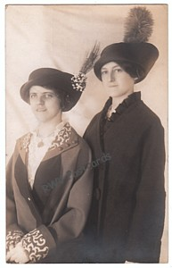 real photo postcard, ladies in large hats