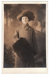Real Photo Postcard, Lady in Winter Coat