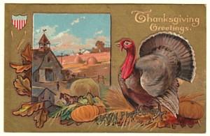 Thanksgiving Postcard, Turkey Looks Over Farm