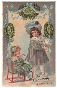 Vintage Christmas Postcard, Sled Girls