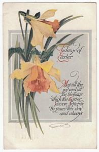 Daffodil Vintage Easter Postcard