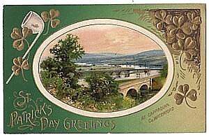 Winsch St. Patricks Day Postcard, Gold Shamrock Pipe