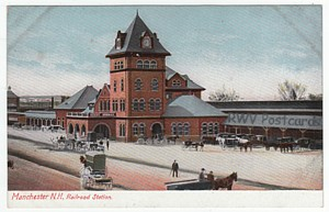 Antique train postcard of Manchester, NH railroad station