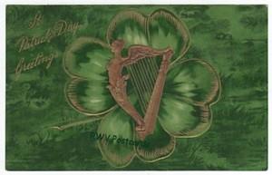 Winsch St. Patricks Day Postcard, Shamrock Harp