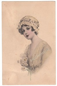 Lady vintage postcard published by Ullman
