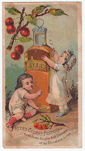 Victorian trade card, bottle of Ayers Cherry Pectoral