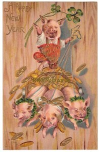 New Year Postcard, Dressed Pig Chariot