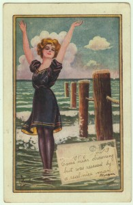 1912 Antique Bathing Beauty Postcard artist signed by C. Ryan